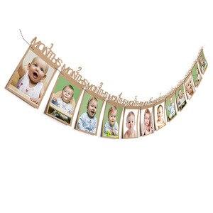 Longitud 3m 1er cumpleaños foto Banner decoración personalizada 1 a 12 meses Foto mensual
