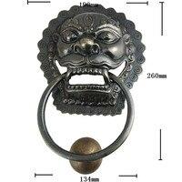 Латунь китайский Винтаж зверь головы Мебель потянуть ручку двери, 190*260 мм