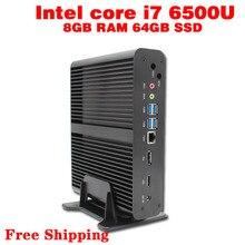 Mini PC Core i7 6500U Max 3.1GHz 8GB RAM 64GB SSD Micro PC HTPC Windows10, Linux Intel HD Graphics 520 TV BOX usb 3.0