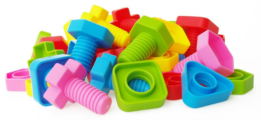 Y14267 Screw Pairing Nut Combination 20Pairs Barreled Plastic Building Blocks DIY Assembling Educational Toy For Children lot variety versatile building blocks nut combination disassembly assembling toys for children