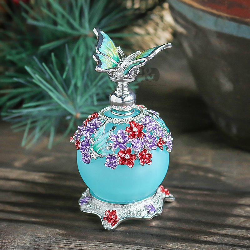 H&D 23ML Beauty Antique Colorful Flower Restoring Glass Perfume Bottle with Butterfly Empty Refillable Container Stopper Gifts дезодорант hongkong 2015 100 d perfume d