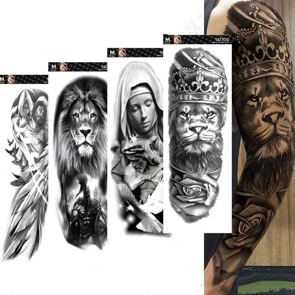 Large Arm Sleeve Tattoo Lion Crown King Rose Waterproof Temporary Tatoo Sticker Wild Wolf Tiger Men Full Skull Totem Tattoo