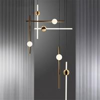 Nordic LED Pendant Lamps Lights Loft Gold LED Chandelier Stick Living Room Hotel Hall Clothing Store Suspension Lights Fixtures