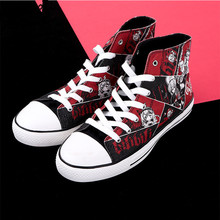 цена на WHOHOLL Hand-painted Print Canvas Shoes Graffiti High-top Casual Flat Shoes Man Women Couple Leisure Casual Vulcanize Shoes