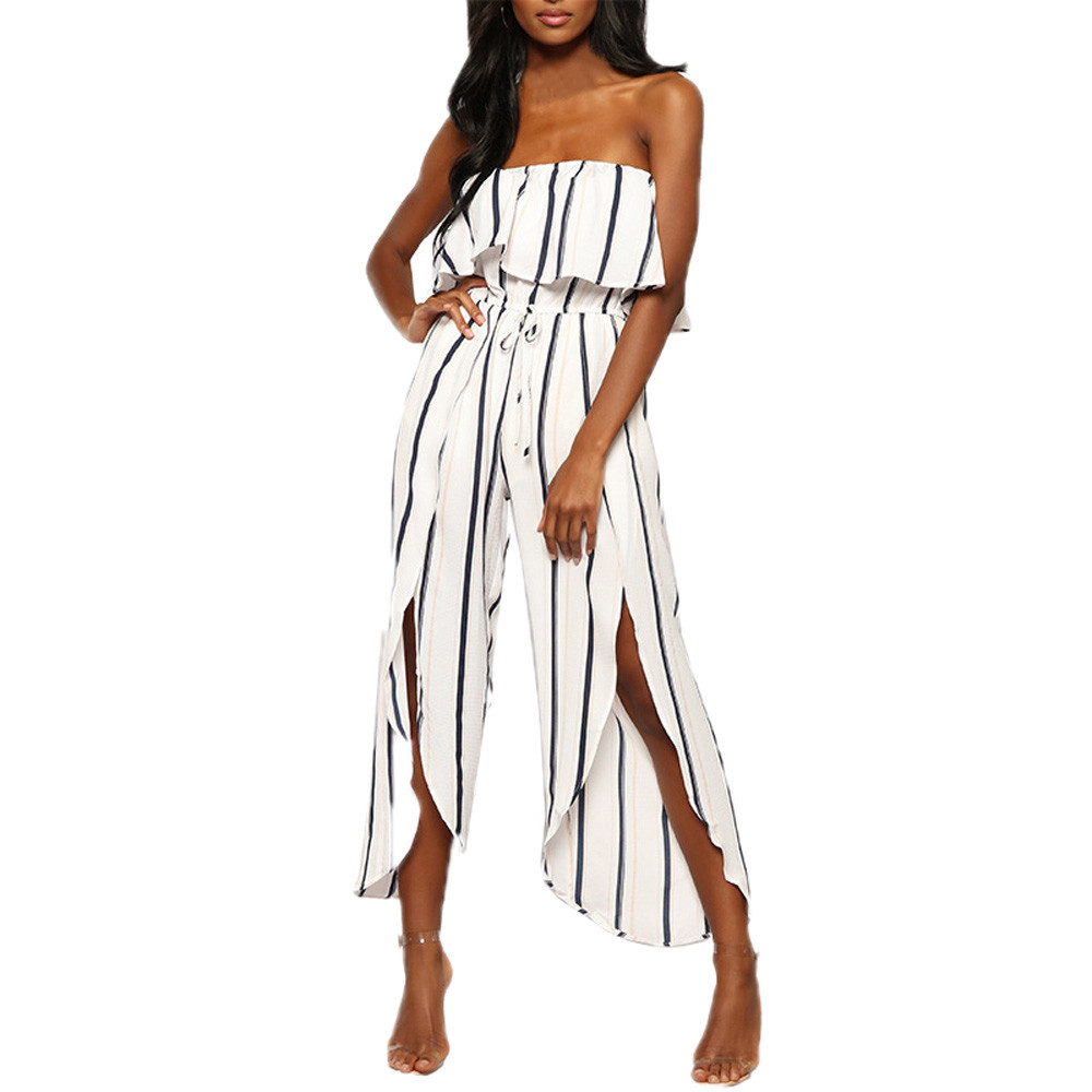 Fashion Women Summer Sexy Off The Shoulder Reffle Striped Playsuit Ruffles Party Clubwear Jumpsuit Combinaison Pantalon Femme 50