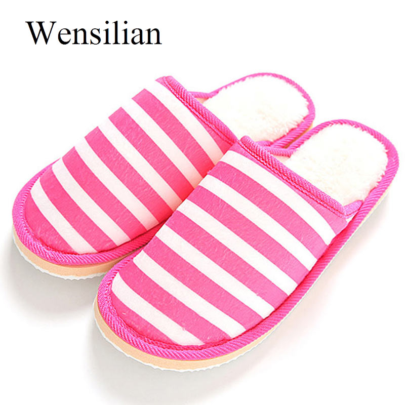 Women Cotton Home Slippers Winter Indoor Non Slip Thick Soles Striped Slippers Warm Soft Couple Shoes Flats Female Slides new women slippers non slip home room slippers elastic cloth printed grid transparent women comfortable thick soles women shoes