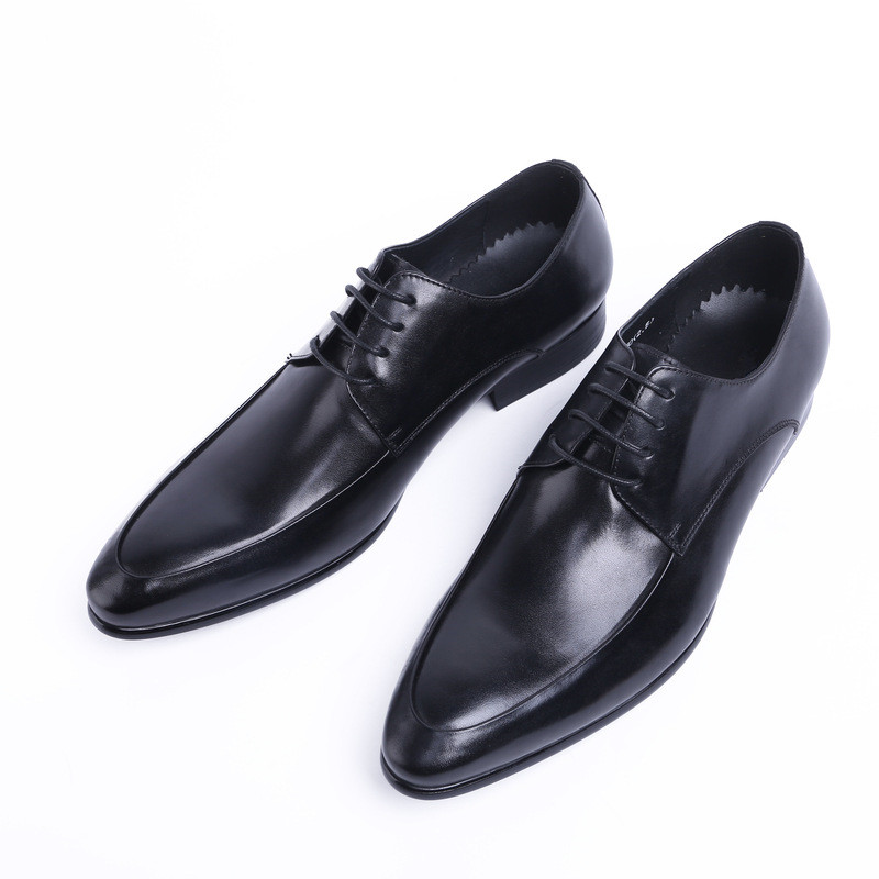Pointed Toe Genuine Cow Leather Formal Shoes Men Black Red Business Office Flats Luxury Fashion Lace Up Oxford Shoes JMH-A0025 2017 new oxford for men dress genuine leather black red office zapatos lace up pointed toe the trend of black leather shoes