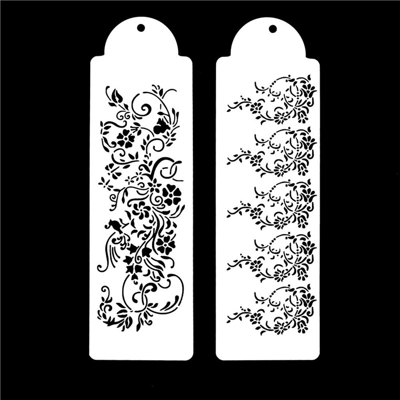 2Pcs/Set High Quality Lace Boarder Flower Reusable Stencil Airbrush Painting Art DIY Home Decor Scrap Booking Album Crafts