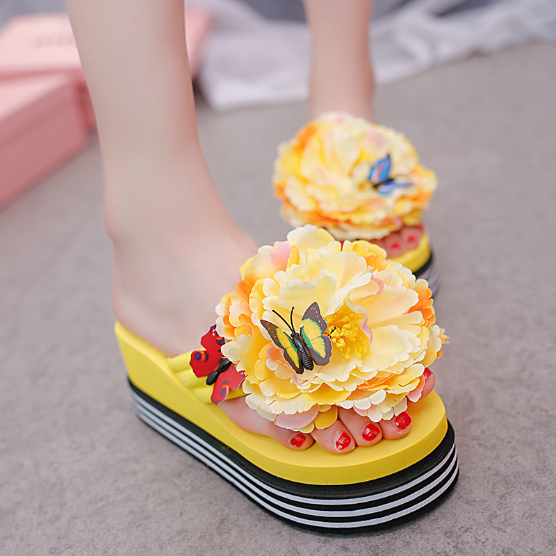 df923fc32 YMECHIC Sweet Lovely yellow red white large flower high wedge heel womens  slides thick sole platform flip flips summer shoes-in Flip Flops from Shoes  on ...