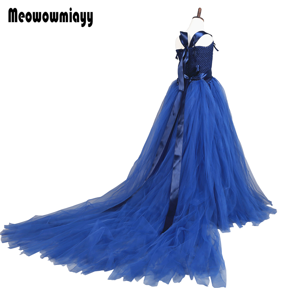 купить Girls dresses for party and wedding summer 2018 kids clothes vestidos infantil Tail wedding prom dresses vestido infantil festa по цене 3399.2 рублей