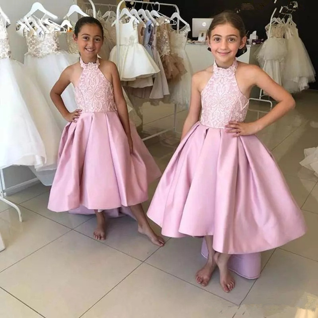 Cute Pink Halter A Line   Flower     Girls     Dresses   with Satin Backless Hi Lo Ruffle   Girls   Pageant   Dresses   First Cummunion   Dresses