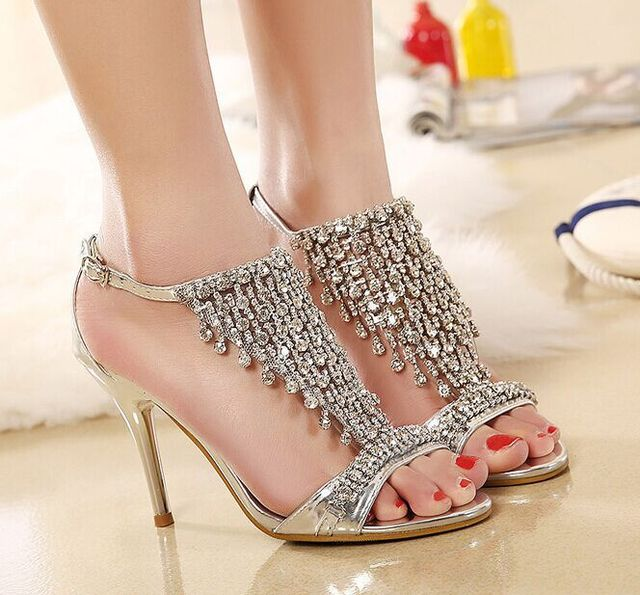 Womens Summer Sandals - Fashion Luxury Diamond Thin Heeled Sandals Ankle Wrap Party Wedding Shoes