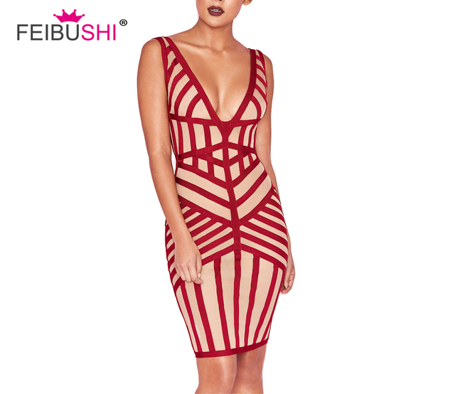 5a0f1bedd75 FEIBUSHI-2018-Elegant-red-stripe-Bandage-Dress -Sexy-Deep-V-Neck-Casual-Bodycon-Dress-Women-Celebrity.jpg 640x640.jpg