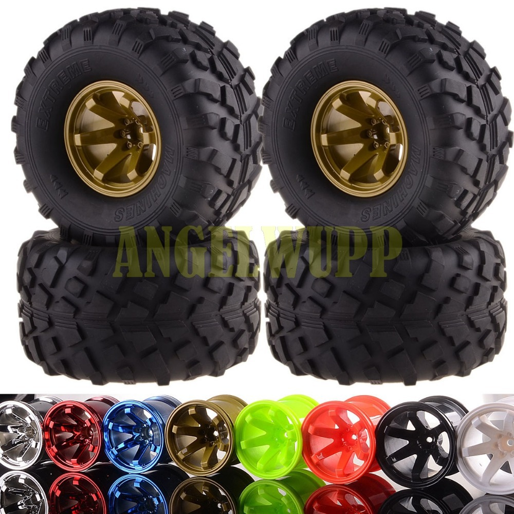 RC 1/10 Off Road Monster Truck Wheel Rim&Tyre Tires 6008-3003 HSP HPI 8Colors 4pcs set 140mm rc 1 8 monster truck tires tyre plastic wheel rims