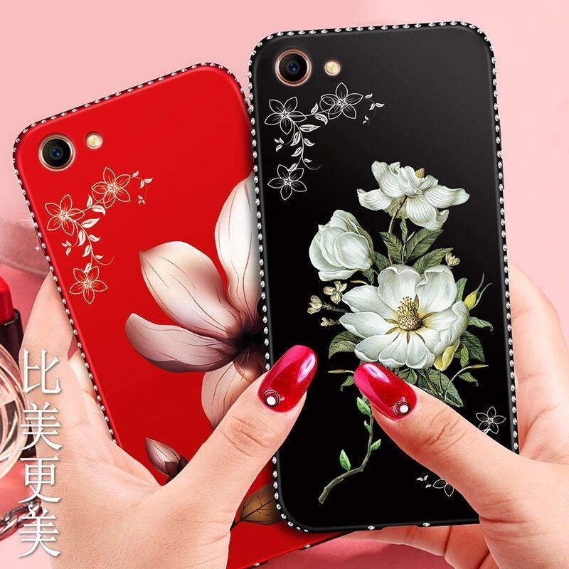 Rhinestone Silicone Floral lily phone case For Xiaomi A1 A2 lite F1 Y1 MAX2 3 5X