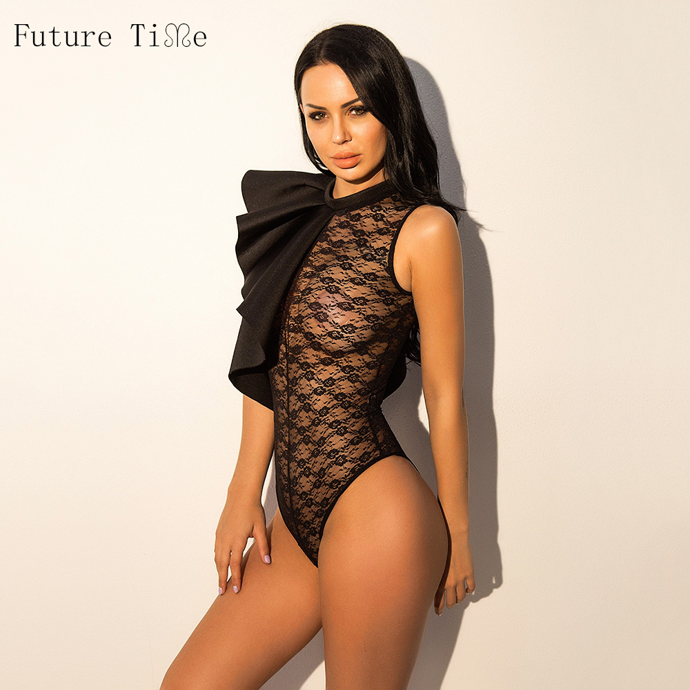 Future Time One Shoulder Puffed Sleeve Glitter Bodysuit 2018 New Mid Waist Sleeveless Skinny Women Clothes Sexy Lace Bodysuit