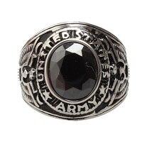 18kgp branco titanium aço inoxidável anéis de pedra preciosa anel estilo retro do punk rock dos homens do exército dos eua (gr190)