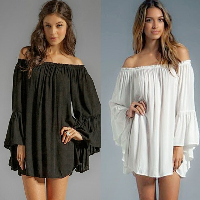 2017 Nieuwe Mode Club Jurk Plus Size Vrouwen Kleding Mini jurk Europese Stijl Losse Herfst Lente Nieuwe Slash Jurk B8700