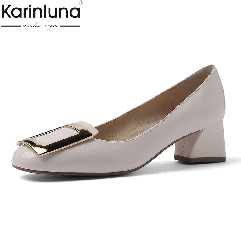 Tacones Moda Negro Bombas plata Karinluna 2019 Elegante Zapatos Cuero De blanco Mujer Maduras Nuevo Genuino Estilo Mujeres Las Clásicos Chunky 1pqpcw56