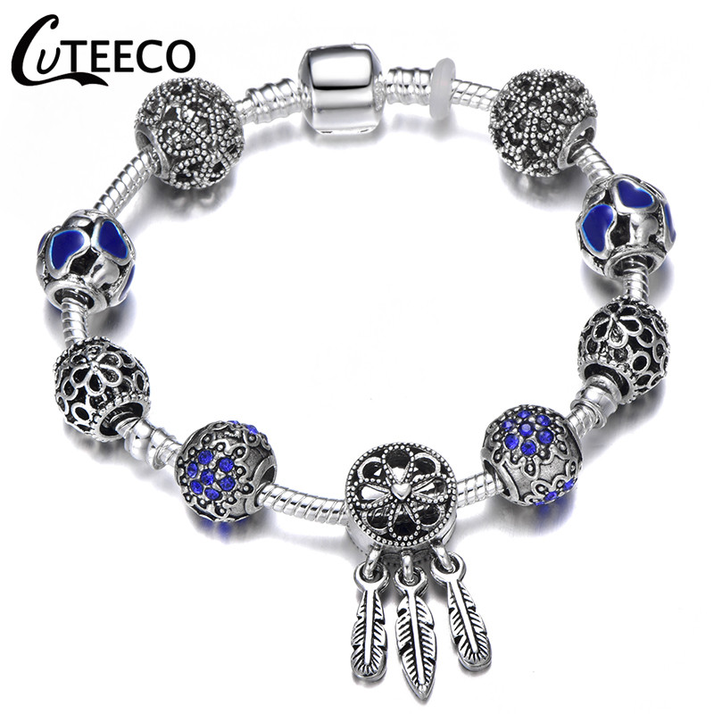 CUTEECO 925, модный серебряный браслет с шармами, браслет для женщин, Хрустальный цветок, сказочный шарик, подходит для брендовых браслетов, ювелирные изделия, браслеты - Окраска металла: AJ3076