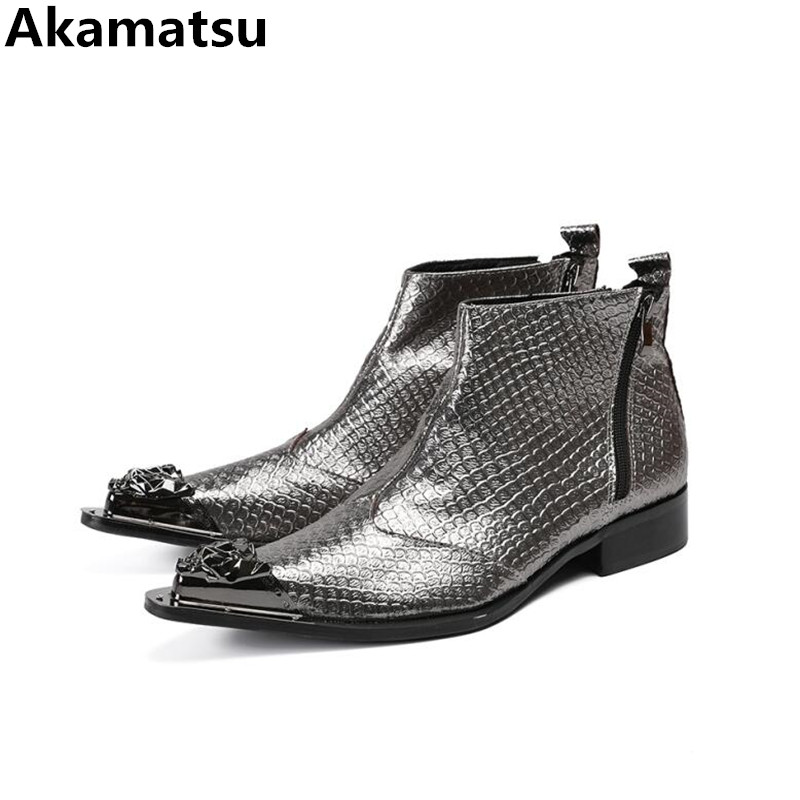 Bota masculina ankle boots for men genuine leather shoes men pointed toe zipper chelsea boots combat military shoes plus size