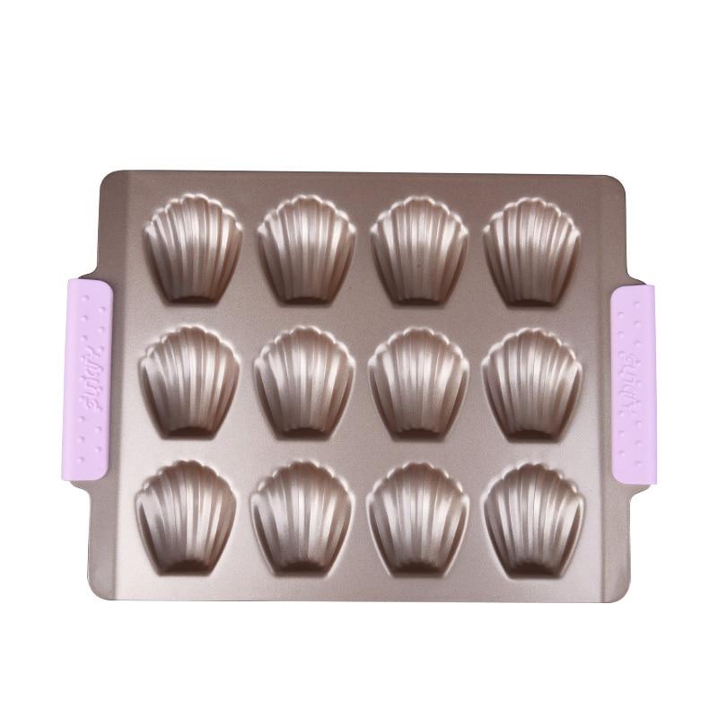 12 Tassen Backformen Antihaft-Metall Schalenform Madeleine Kuchenform Küche Backform Qualität Kohlenstoffstahl Backzubehör BM033