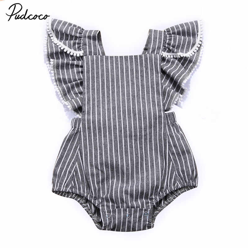 0b29172d85 2018 Summer Vintage Style Newborn Infant Kid Baby Girls Clothes Fly Sleeve  Striped Rompers Infant Baby