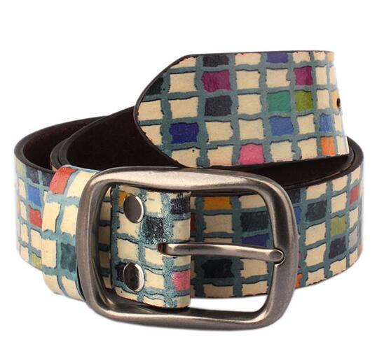 2016 nueva correa De Cuero de lujo multicolor imprimir casual color checker beltl Diseño Abstracto Impreso Cinturón De Cuero Real 3.7 cm de ancho