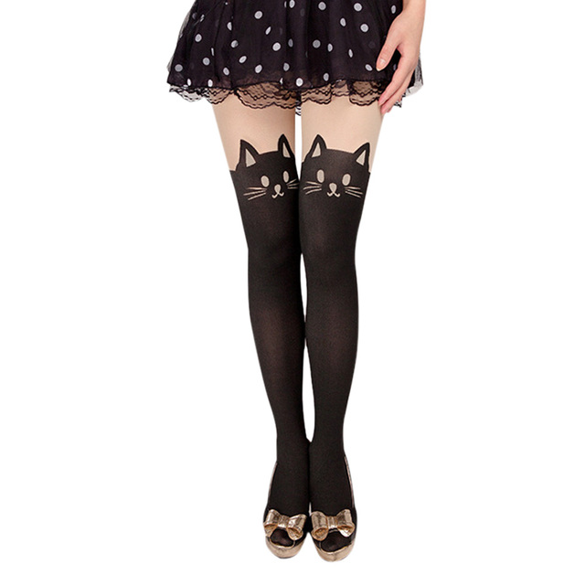 Womens Tights Patchwork Cats Tail Cute Pantyhose Fake Over The Knee Stockings Leg Slimming Thigh Highs