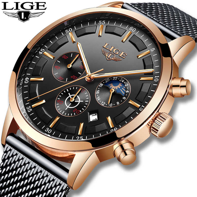 Reloj Hombre 2019 LIGE Mens Watches Top Brand Luxury Casual Quartz Wrist Watch For Men Military All Steel Waterproof Sport Clock