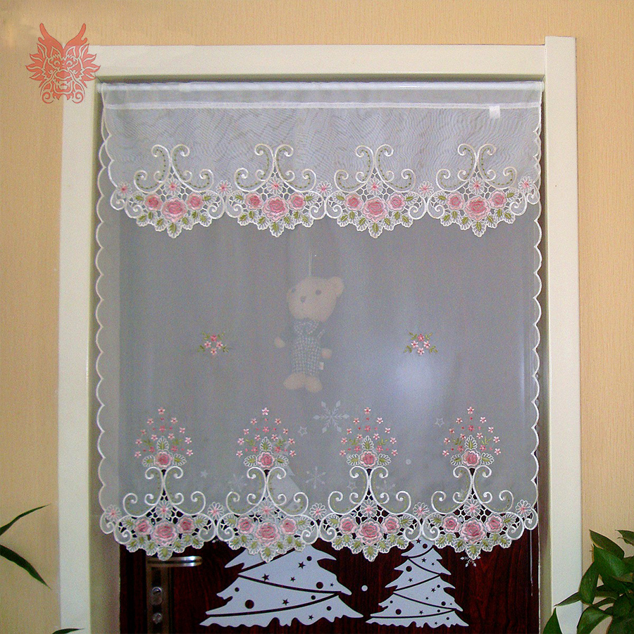 2016 New Fashion Pink Floral Embroidery Lace Half Curtain Bay Window Curtain For Coffee Kitchen