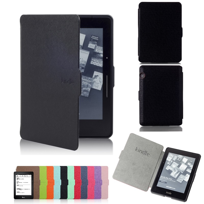 Ultra Slim eBook Case For Amazon Kindle Voyage 2014 Magnet Flip Cover PU Leather Cross Lines Ereader Cases Wake Sleep slim pu leather ebook case for amazon kindle paperwhite ppw 1 2 3 2013 2015 fundas magnethard shell flip cover ereader cases
