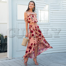 CUERLY Off shoulder ruffle two piece summer dress suit Casual elastic beach women maxi Backless wrap long vestidos