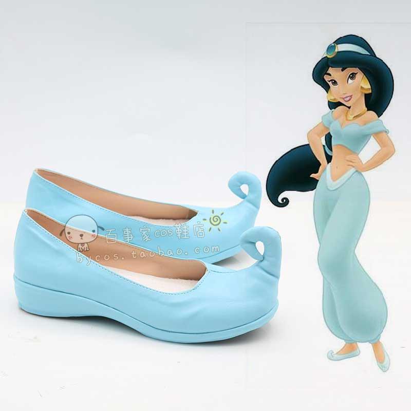 Aladdin Princess Cosplay shoes and the magic lamp Princess Jasmine Shoes Indian blue shoes Costume Role Play costume Принцесса Жасмин
