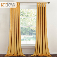 Thick Room Darkening Noise Reducing Gold Velvet Curtain Luxury Heavy Velvet Drape with Twist Tab Top for Bedroom Window Covering