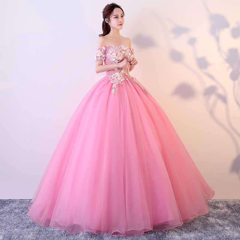 Pink Quinceanera Dresses 2018 Off The Shoulder Short Sleeves Ball Gown Sweet 16 Dresses Vestido 15 Anos Party Prom Gown