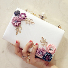 High Quality Handmade Flower Evening Clutch Bags Fashion Party Clutch Purse Wallet Wedding Dinner Bags White Chain Shoulder Bag retro purple fashion ladies purse small day clutch chain bag shoulder bag dinner handbags female wedding clutch evening bags
