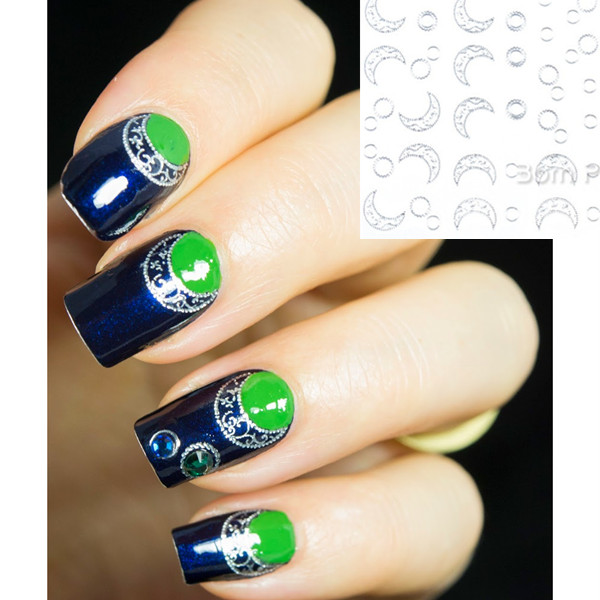 1sheet Nail Art Water Decals Transfers Sticker Sun Moon Pattern
