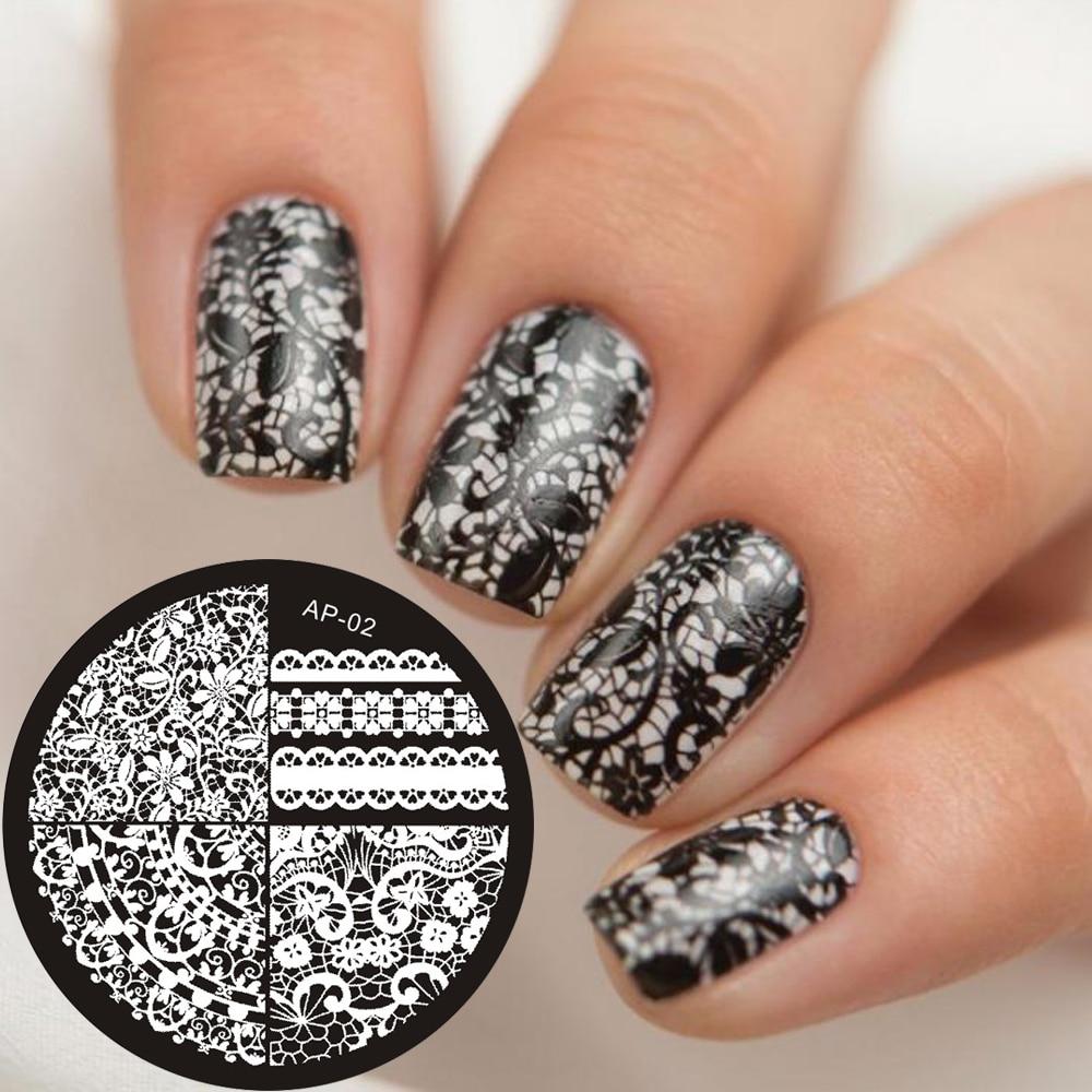 pandox chic lace pattern nail art stamping template image