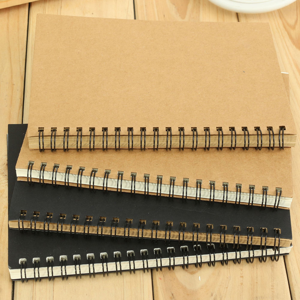 Retro Kraft Spiral Binding Blank Graffiti Sketchbook Notebook Graduation Gift