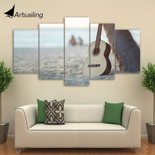 HD Printed 5 Piece Canvas Art Classical Guitar Painting Music Instrument Wall Pictures for Living Room Free Shipping CU-1862C