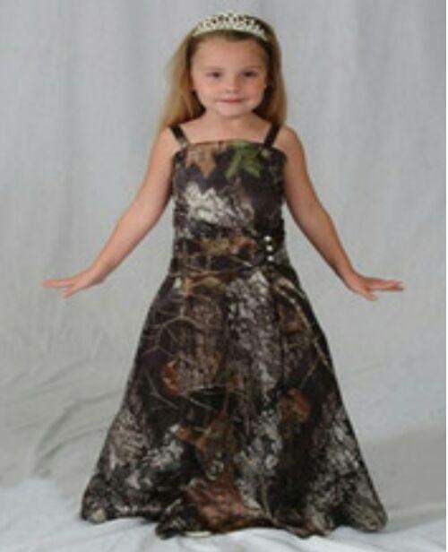 Straps Camo Girl Dresses Flower Girls  Ball Gowns Camouflage Kid Prom Dresses Long Custom Make Free Shipping