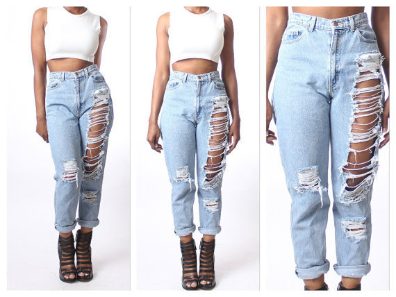 Online Shop Loose Ripped Jeans 2015 Summer Style Jeans Womens ...