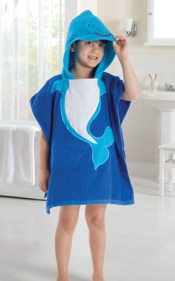 5 видов конструкций детский халат с капюшоном/детское полотенце/модель ing полотенца с фигурками животных/детский банный халат/детское банное полотенце - Цвет: dolphin