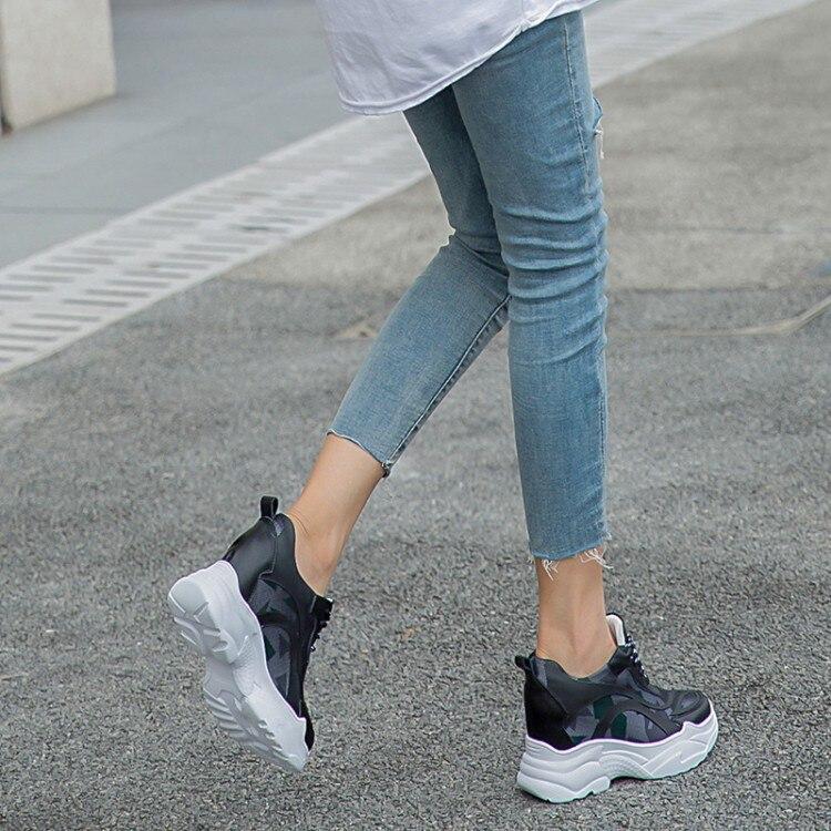 Talón Aire Oculta Otoño Zapatos Mujeres Malla Vaca Zapatillas Blanco White De 2018 Mljuese Vulcanizar Color Cuero Primavera Plataformas black 7qwCORxvW0