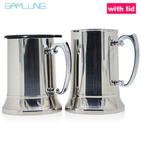 Gamlung Brand Stainless Steel Tankard Stein Double Wall Beer Mugs High quality Mirror Cup 450ml 550ml 2017