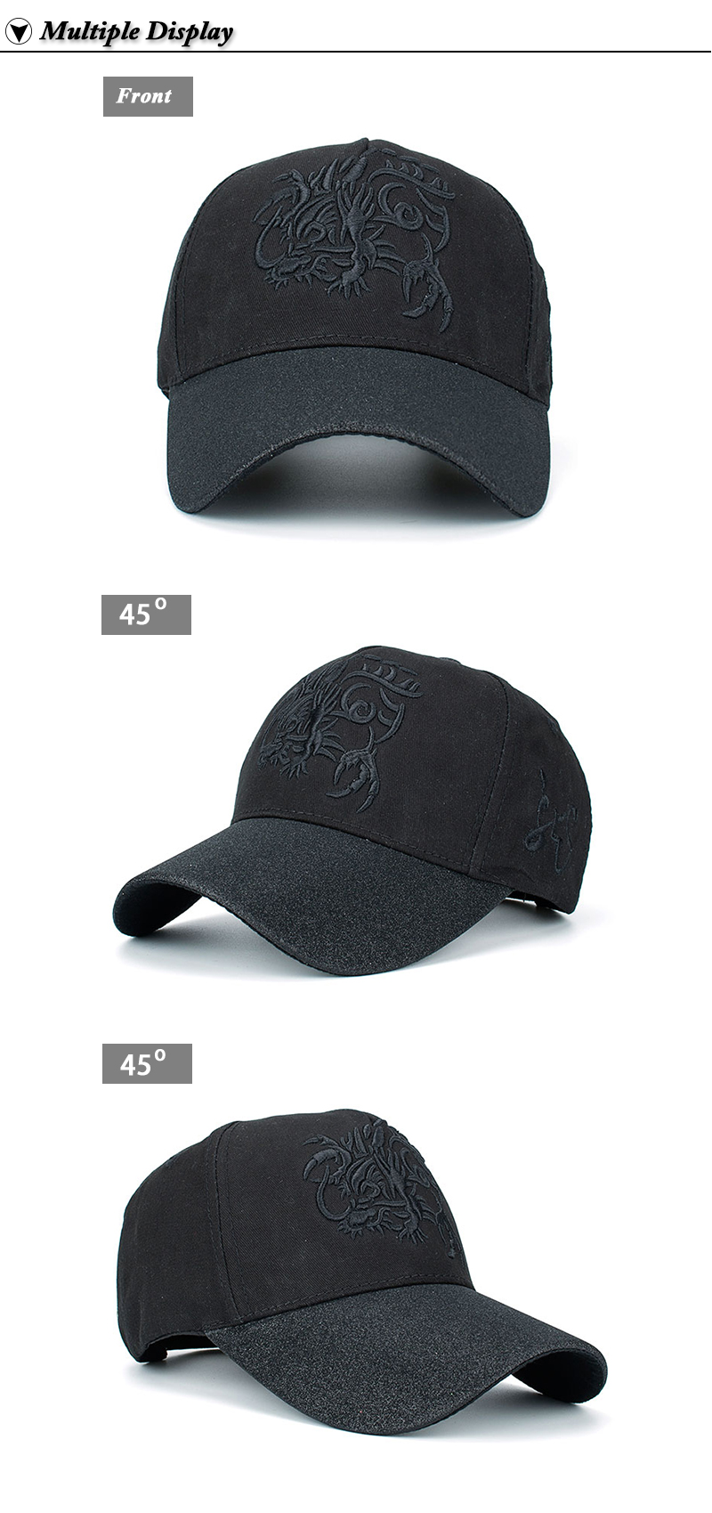 Embroidered Chinese Dragon Baseball Cap - Front and Left and Right Angle Views