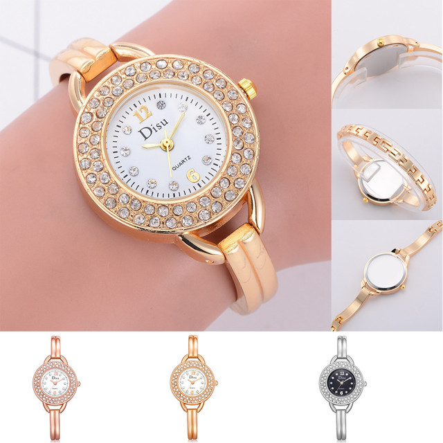 Rose Gold Plated Women's Elegant Rhinestone Bracelet Watches in Three Colour New