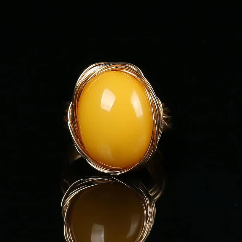 factory wholesale 14k gold wrapping mix material natural yellow amber DIY ring for women party anniversary gift 1