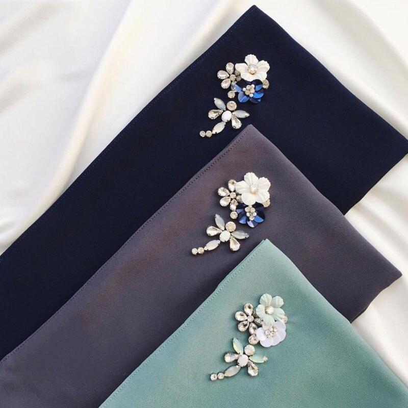 1 Pc Bubble Chiffon Hijab Scarf Shawls Fashion Plain Wraps Handmade Beads Flower Crystal Long Scarves/scarf 180*75cm